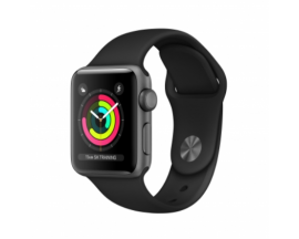 APPLE WATCH 3 GPS 38MM SPACE GREY ALUMINIUM CASE WITH BLACK SPORT BAND MQKV2QL/A