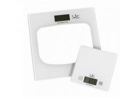 Bascula de baño jata capacidad 180kg visor lcd gran tamaño + bascula de cocina blanco P111